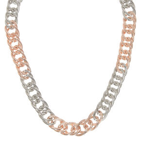 Silver and Rose Gold-Tone Chunky Chain Necklace,