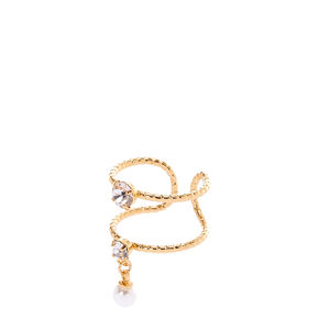 Double Banded Gold Pearl Charm Ring,