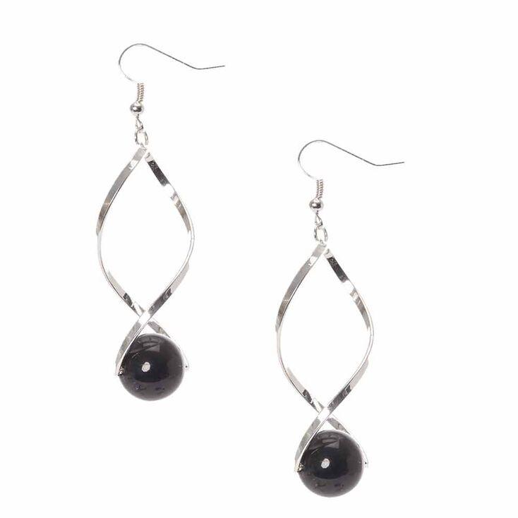 Silver-tone Open Swirl  with Black Bead  Drop Earrings,