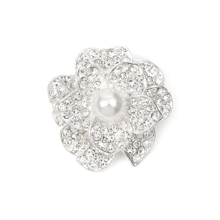 Pavé Crystal Layered Flower Bridal Brooch with Pearl Center,