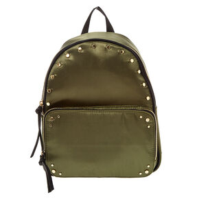 Khaki Green Satin Studded Backpack,