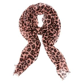 Blush Leopard Print Knit Scarf,