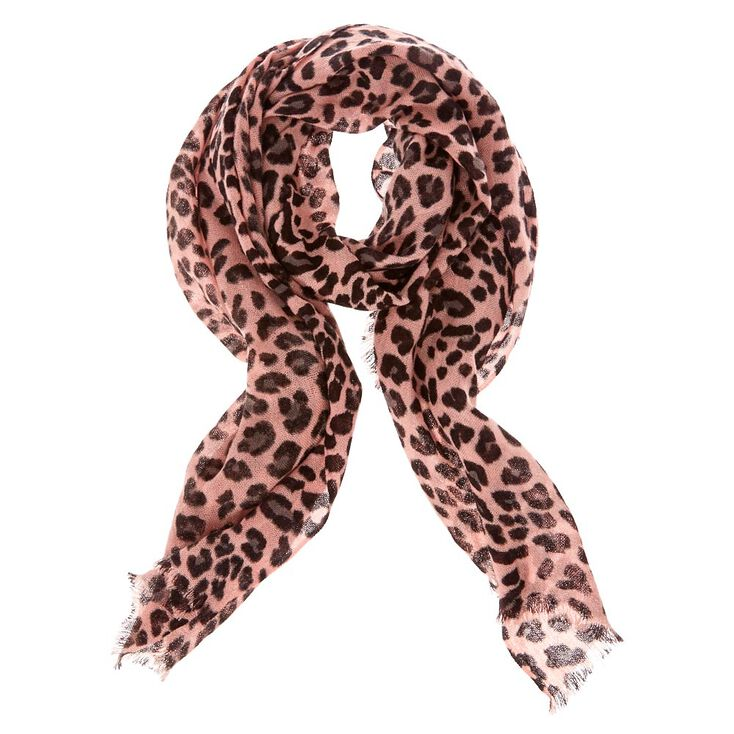 Blush Leopard Print Knit Scarf at Icing in Victor, NY | Tuggl