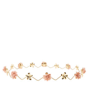 'Gold & Pink Flowers Zig Zag Flower Crown,