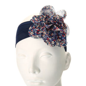 Kids Floral Print Flower Navy Mesh Headwrap,