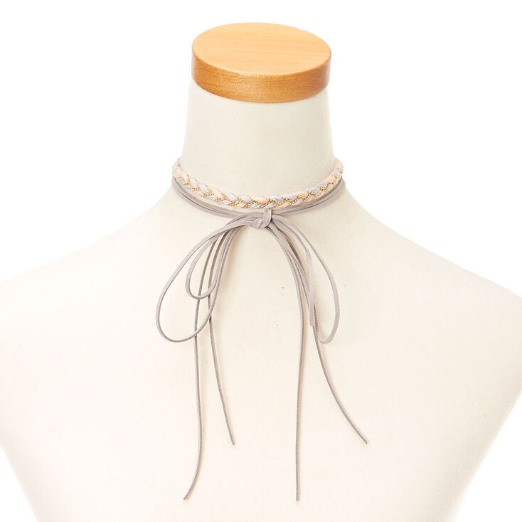 Pink and Gray  Braided Yarn and Faux Suede Choker Headwrap,