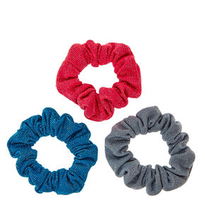 Pink, Teal, and Gray Glittery Hair Scrunchies,