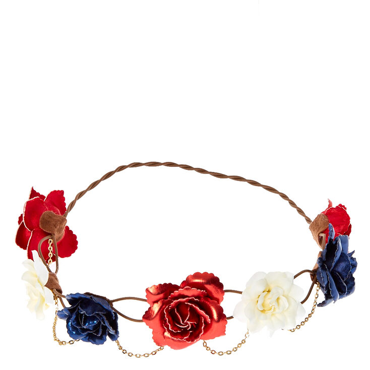 Red, White and Blue Roses Hair Garland,
