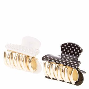Pearl and Polka Dot Mini Hair Claws,