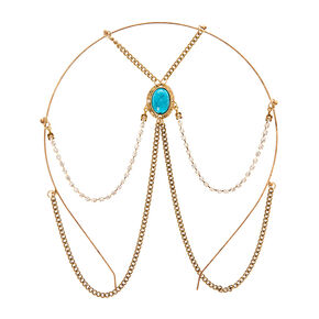 Turquoise Stone Gold Chain Headband,
