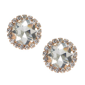 Rose Gold-Tone Pave Halo Stud Earrings,
