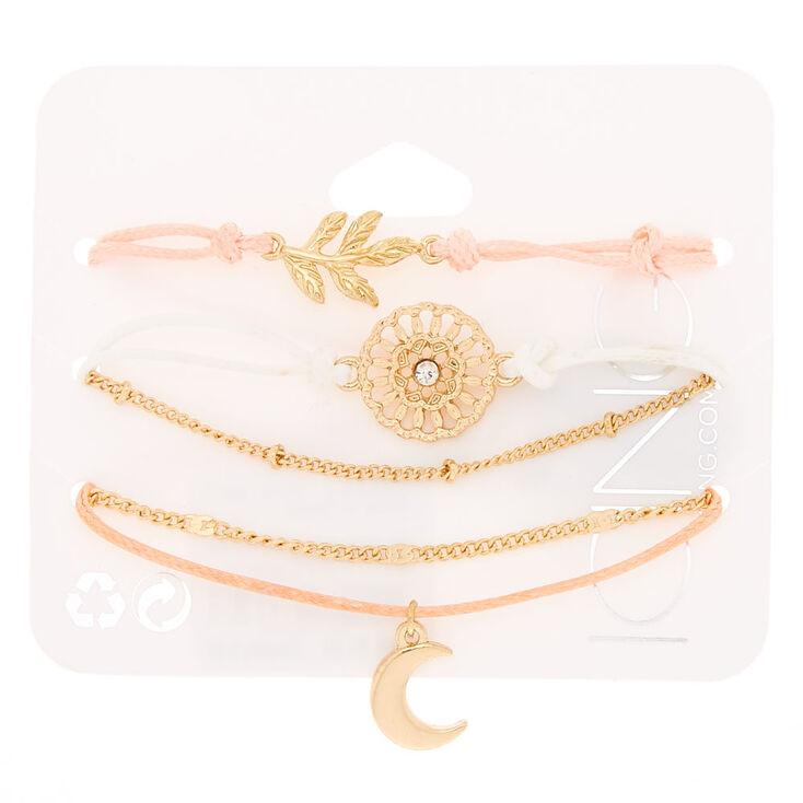 Gold-tone and Pastel Yarn Boho Flair Bracelets,