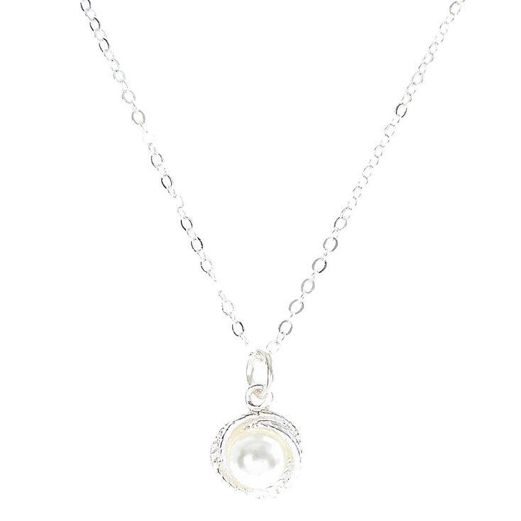Faux Pearl Pendant Necklace,