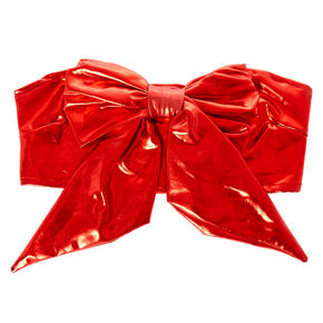 Metallic Red Bow Tube Top,