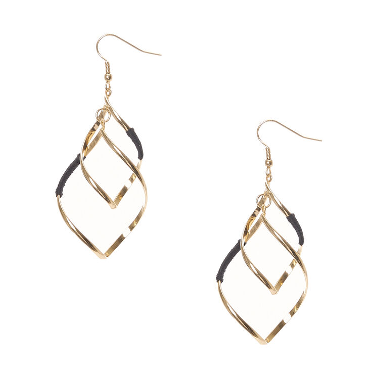 Black Yarn and Gold-tone Ribbon Curl Drop Earrings,
