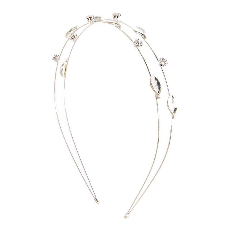 Silver Two Row Leaf Stone Headband,
