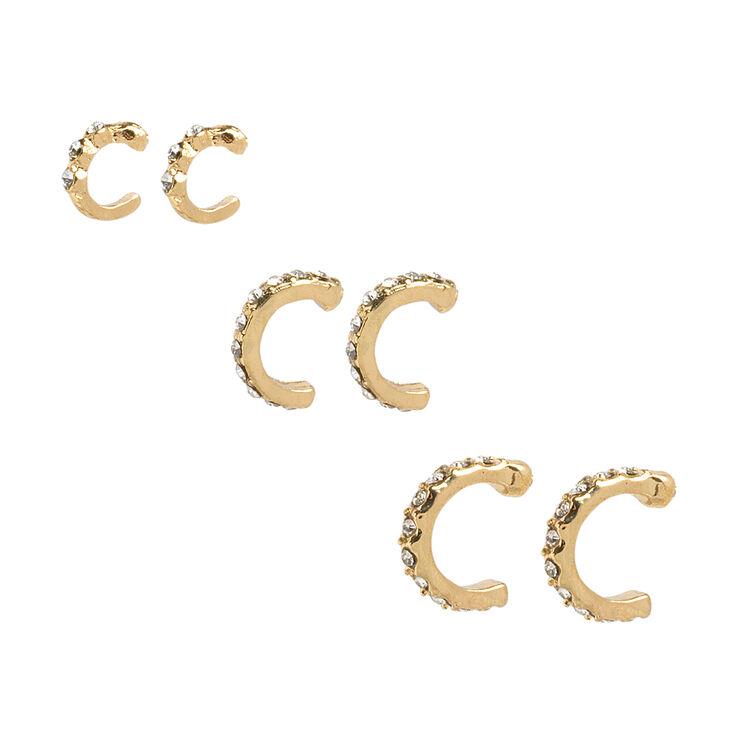 Gold and Crystal Graduated Cartilage Hoop Earrings,