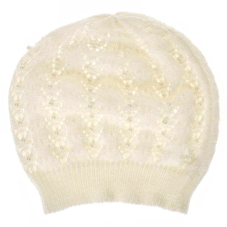 White Faux Pearl Crochet Beanie at Icing in Victor, NY | Tuggl