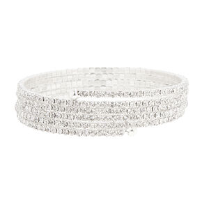 Thin Silver and Rhinestone Coil Bracelet,