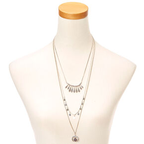 Moon Pendant Layered Necklace,