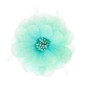 Mint Lily and Feathers Hair Clips,