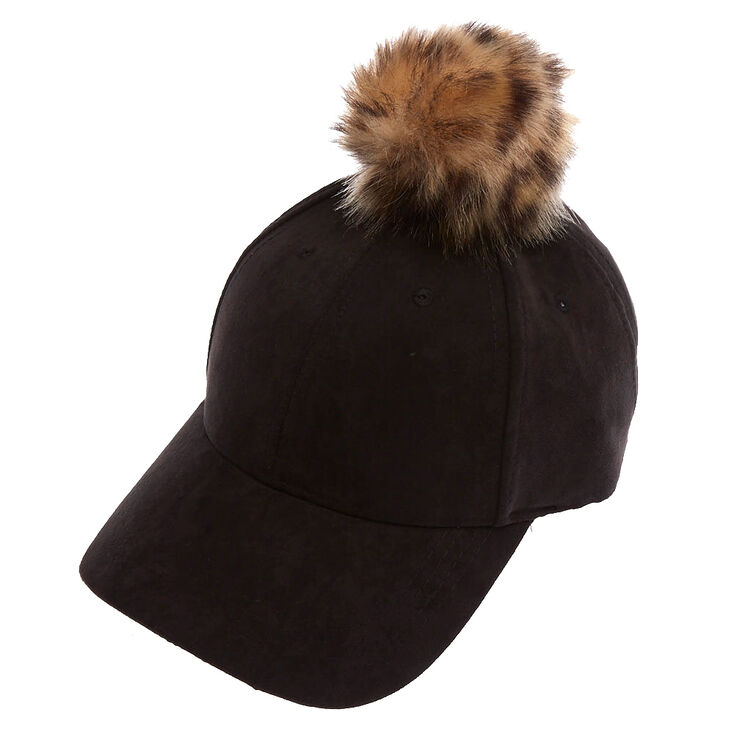 Faux Suede Baseball Hat with Leopard Pom at Icing in Victor, NY | Tuggl