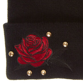Black Rose Patch Beanie,