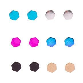 Metallic Hexagon Stud Earrings,