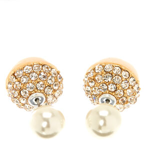 White Faux Pearl Gold-tone Pavè Front and Back Stud Earrings,