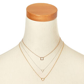 Mixed Metal Geo Necklace Set,
