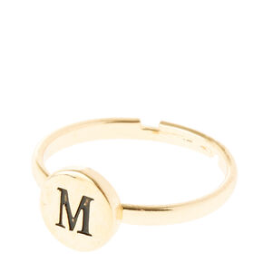 Gold Circle M Initial Letter Ring,