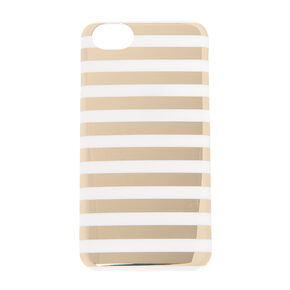Gold & White Striped Metallic Phone Case,