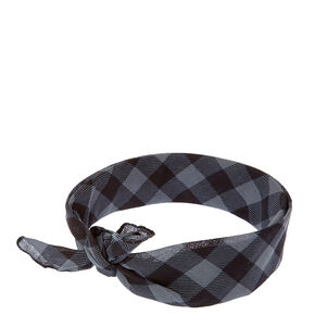 Black And Grey Plaid Bandana Headwrap,