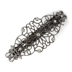 Hematite Flowers and Hearts Filigree Barrette with Rhinestone Accents,