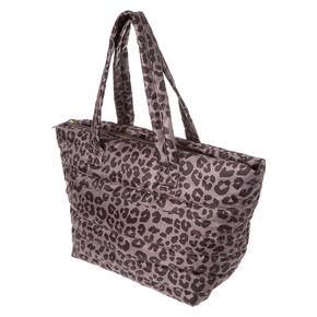 Black & Lilac Leopard Print Jumbo Tote,