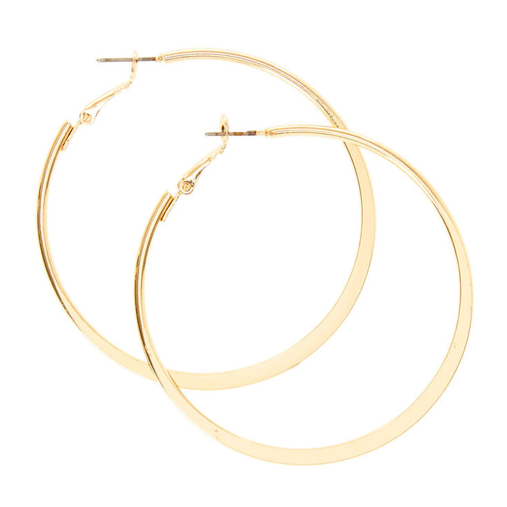 Gold Flat 60MM Hoop Earrings,
