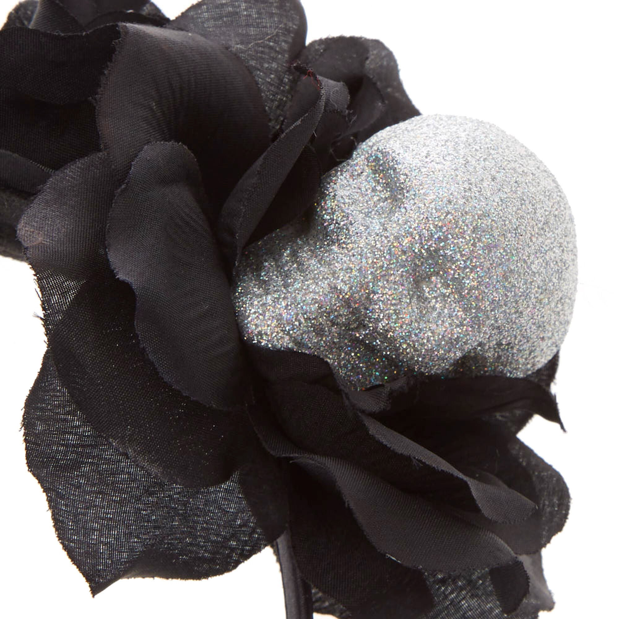 serre t te noir couronne de fleurs avec t te de mort ab. Black Bedroom Furniture Sets. Home Design Ideas