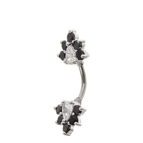 Cubic Zirconia Black Crystal Belly Bar,