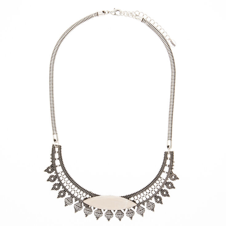 Embossed Black & Silver Aztec Necklace With Stone,