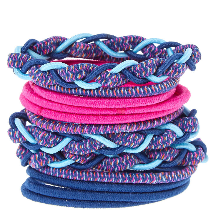 Magenta and Blue Braided Hair Ties,