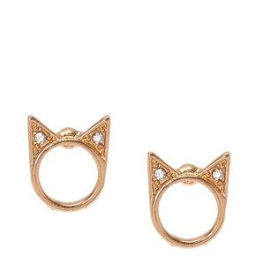 Gold-Tone Halo Cat Stud Earrings,