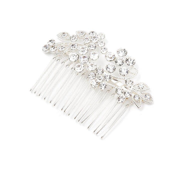 Crystal Flowers and Leaves Hair Comb,