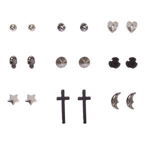 Black and Silver Celestial Gothic Stud Earrings,