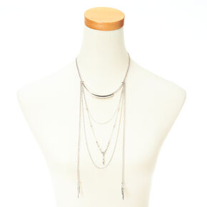 Silver Southwestern Chain Feather Dangle Necklace,