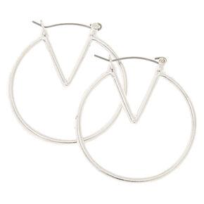 40MM Silver-Tone Geometric Hoop Earrings,