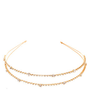 Gold-tone Crystal Lined Double Row Headband,