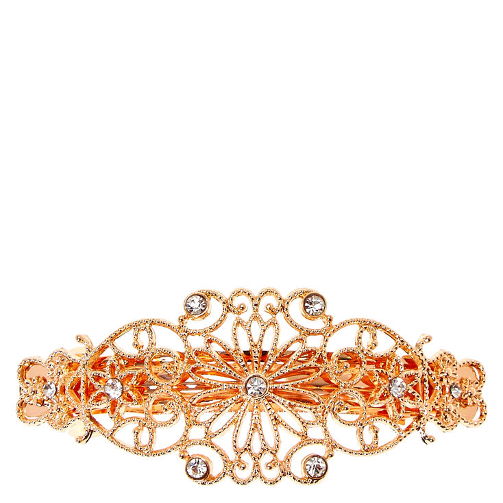 Rose Gold Filigree Flower Hair Barrette,