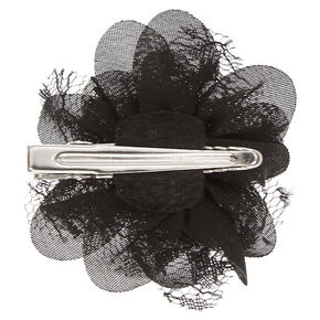 Black Chiffon Mini Flower Hair Clip,
