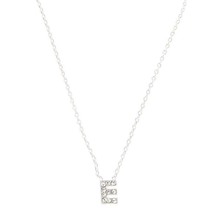 E Pendant Initial Necklace,