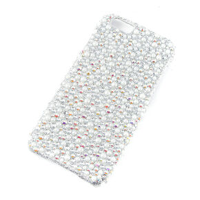 Iridescent Rhinestone and Pearl Phone Case,